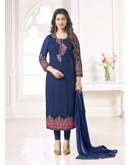 Party Wear Navy Blue Georgette Salwar Suit - 70996
