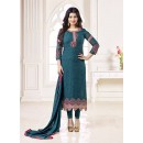 Party Wear Steel Blue Georgette Salwar Suit - 70999