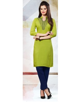 Readymad Green Cotton Straight Kurti - 71118