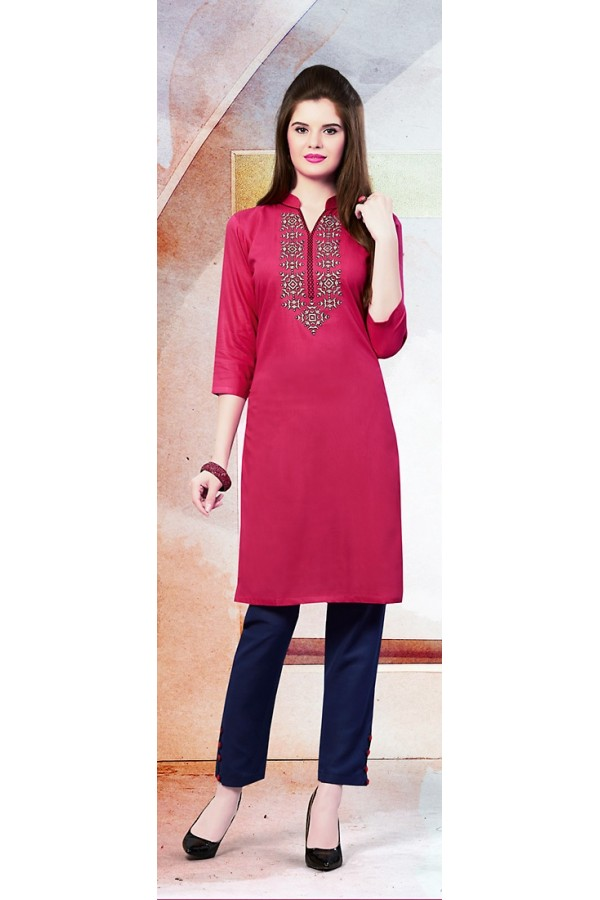 Readymad Violet Cotton Straight Kurti - 71119