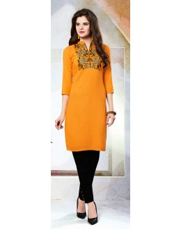 Readymad Orange Cotton Straight Kurti - 71121
