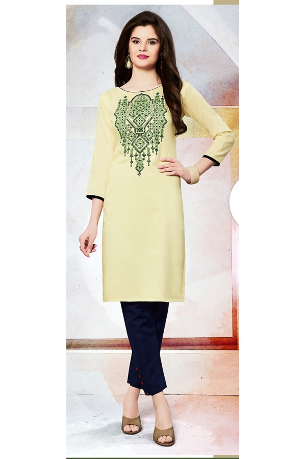 Readymad Yellow Cotton Straight Kurti - 71126