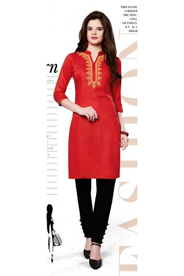 Readymad Red Cotton Straight Kurti - 71128