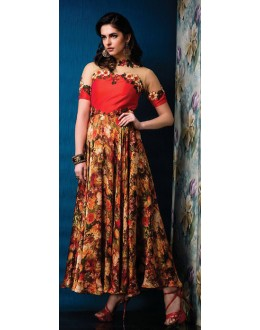 Fancy Multicolour Net Gown - 71209