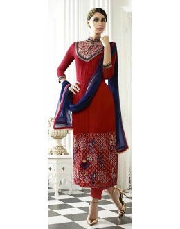 Party Wear Red Georgette Salwar Suit - 71222