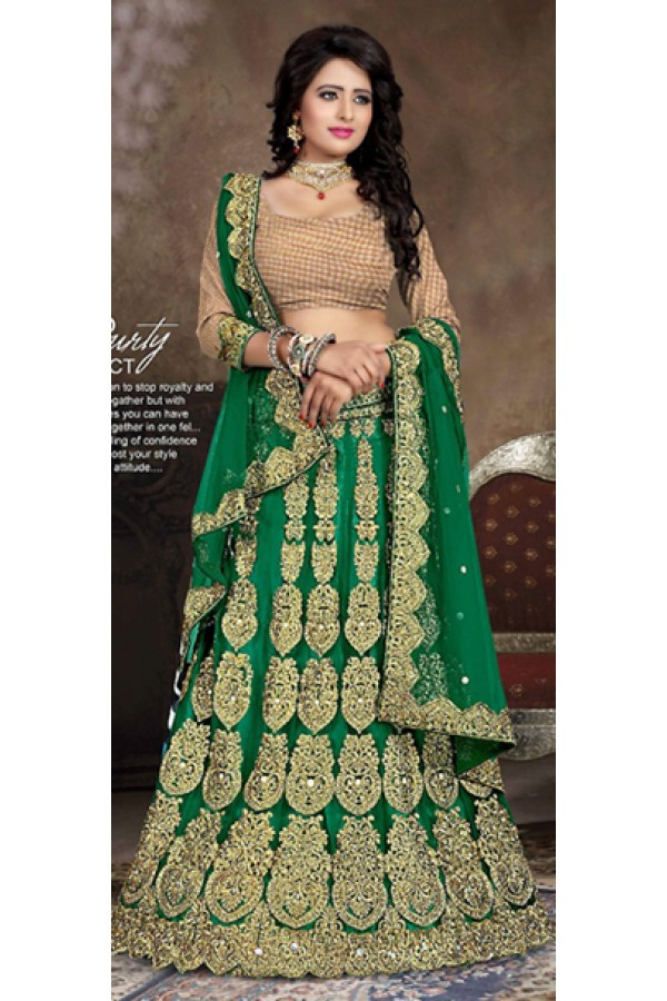 Designer Style Green & Brown Lehenga Choli - 71237