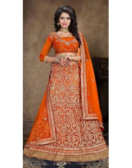 Designer Style Orange Net Lehenga Choli - 71238