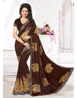 Party Wear Brown Georgette Saree  - 71257