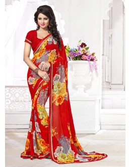 Party Wear Red Georgette Saree  - 71261