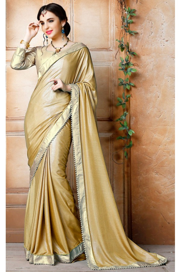 Traditional Tan Brown & Gold Georgette Saree - 71836