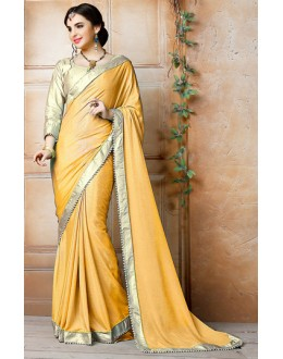 Traditional Yellow & Gold Georgette Saree - 71840