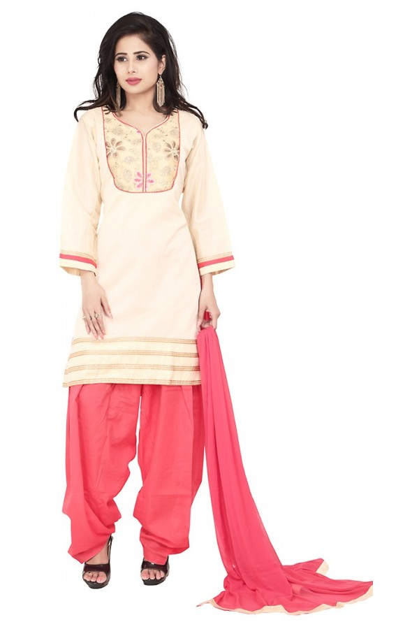 Party Wear Cream Readymade Salwar Suit  -  71342