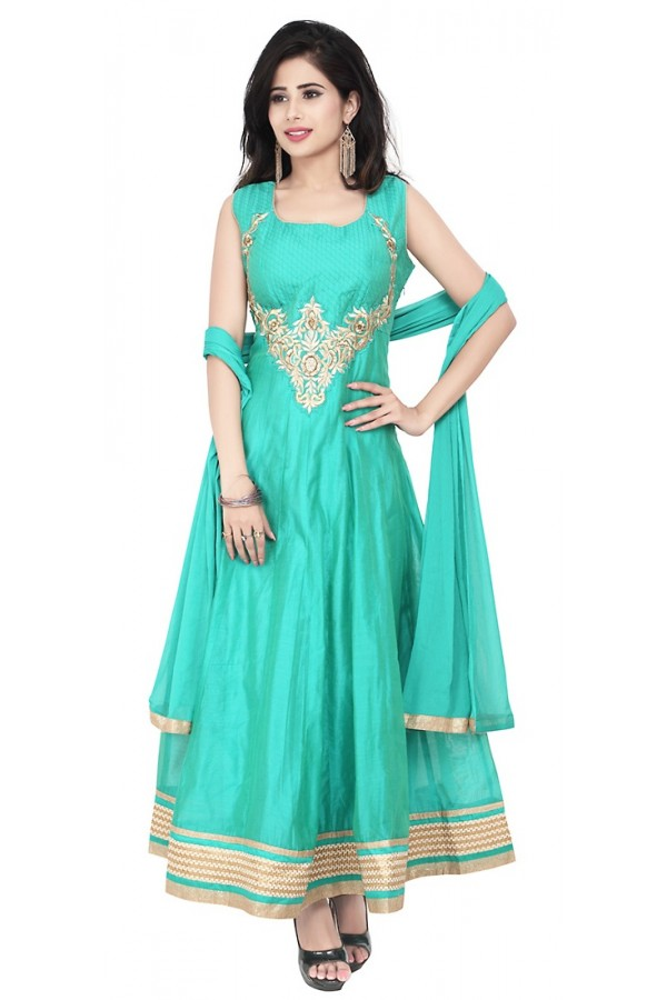 Party Wear Sea Green Readymade Anarkalir Suit  -  71346