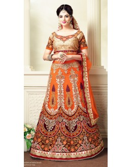 Designer Style Orange Net Lehenga Choli - 71327