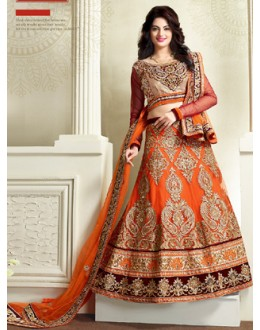 Designer Style Orange Net Lehenga Choli - 71331