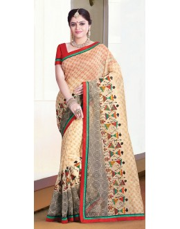 Party Wear Beige & Red Super Net Saree  - 71370
