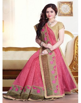 Party Wear Pink & Beige Saree  - 71371