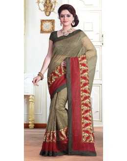 Party Wear Beige & Green Saree  - 71372