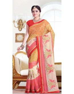 Party Wear Beige & Red Super Net Saree  - 71373
