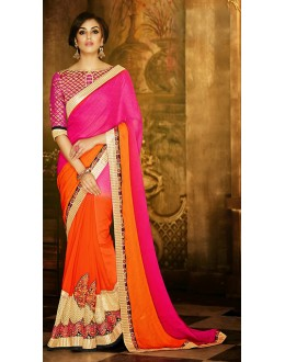 Party Wear Orange & Pink Saree - 71375