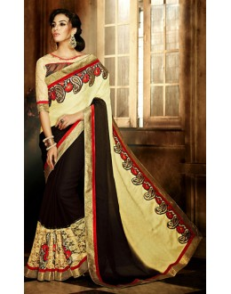 Party Wear Cream & Brown Jaquard Saree - 71377