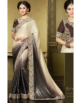 Party Wear Brown & Black Satin Saree  - 71391