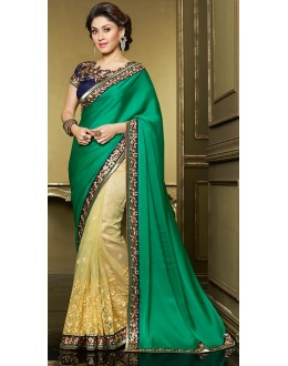 Party Wear Green & Yellow Georgette Saree  - 71396