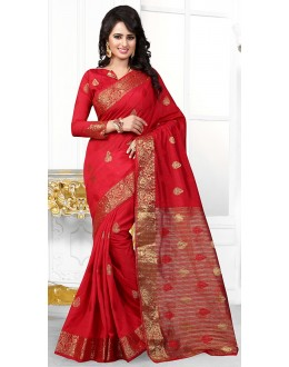 Party Wear Red Banarasi Silk Saree  - 71444