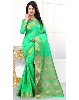 Party Wear Green Banarasi Silk Saree  - 71446