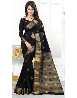 Party Wear Black Banarasi Silk Saree  - 71447