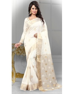 Party Wear Off White Banarasi Silk Saree  - 71448