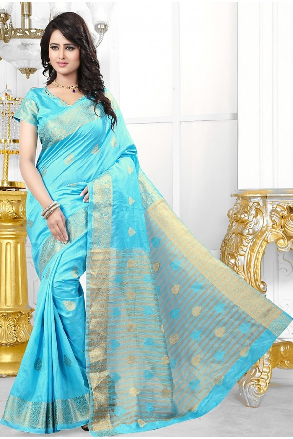 Party Wear Sky Blue Banarasi Silk Saree  - 71450