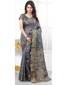 Party Wear Gray Banarasi Silk Saree  - 71451
