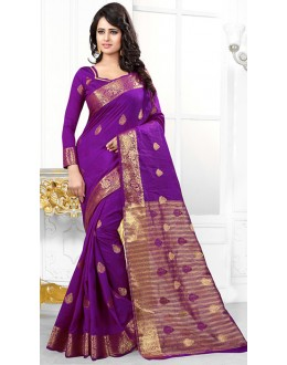 Party Wear Purple Banarasi Silk Saree  - 71452