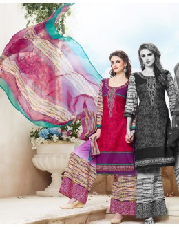 Party Wear Multicolour Cotton Palazzo Suit - 71465
