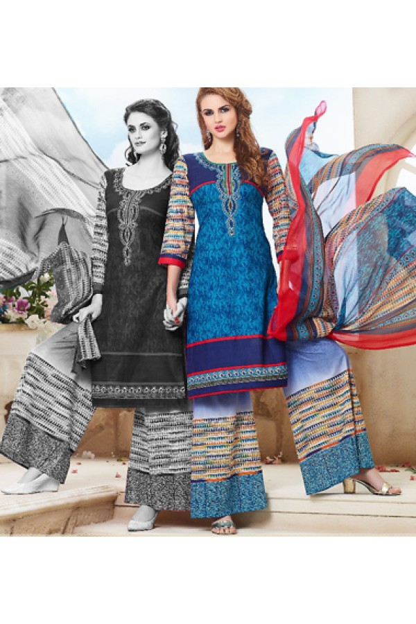 Party Wear Multicolour Cotton Palazzo Suit - 71466