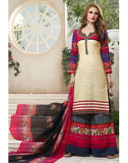 Party Wear Multicolour Cotton Palazzo Suit - 71468