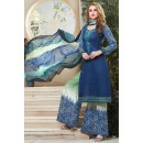 Party Wear Blue Cotton Palazzo Suit - 71472