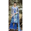 Party Wear Grey & Blue Cotton Palazzo Suit - 71504