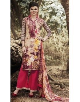 Party Wear Beige & Pink Palazzo Suit - 71506