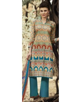 Party Wear Multicolour Cotton Palazzo Suit - 71512