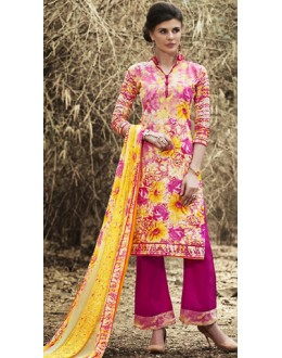 Party Wear Multicolour Cotton Palazzo Suit - 71514