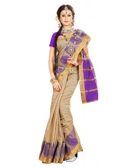 Traditional Tan Brown Banarasi Silk Saree - 71657
