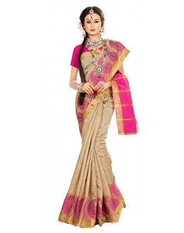 Traditional Tan Brown Banarasi Silk Saree - 71658