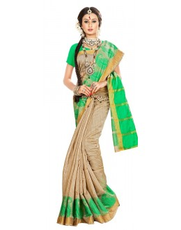 Traditional Beige Banarasi Silk Saree - 71660