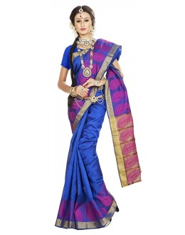 Traditional Blue Banarasi Silk Saree - 71662