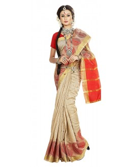 Traditional Beige Banarasi Silk Saree - 71664