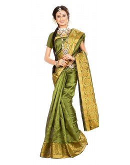 Traditional Olive Green Banarasi Silk Saree - 71666