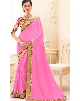 Party Wear Pink Chiffon Saree - 71691