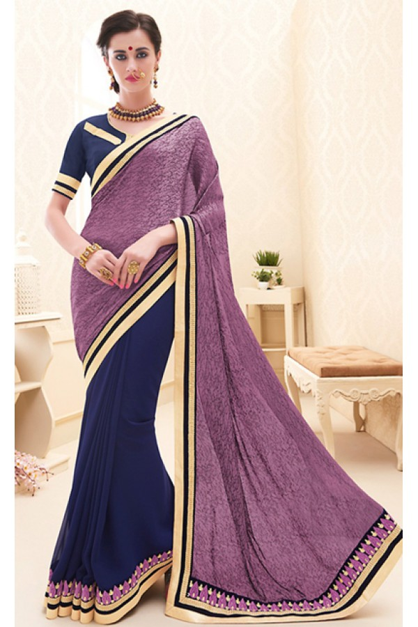 Traditional  Purple & Blue Georgette Saree - 71693